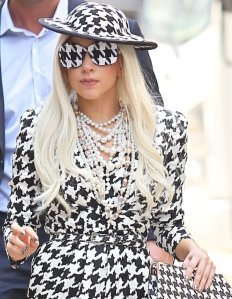 Lady Gaga in a Salvatore Ferragamo Houndstooth ensemble.