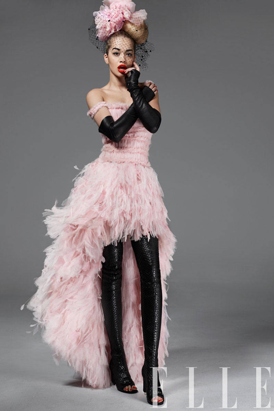 """Tulle, organza, and feather dress, leather gloves, over-the-knee boots, all, Chanel Haute Couture""."