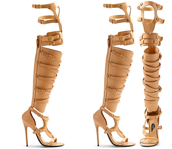 tom ford beige strappy buckle sandal boot